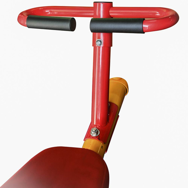 The  Gym Dandy Spinning Teeter Totter TT-360 Seesaw  has rubber grips on the handles for safety