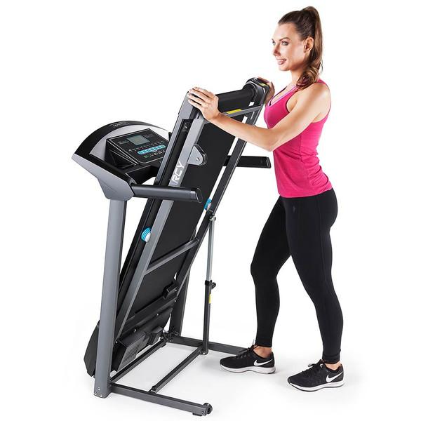 The Marcy Motorized Folding Treadmill JX-650W folds for easy storage