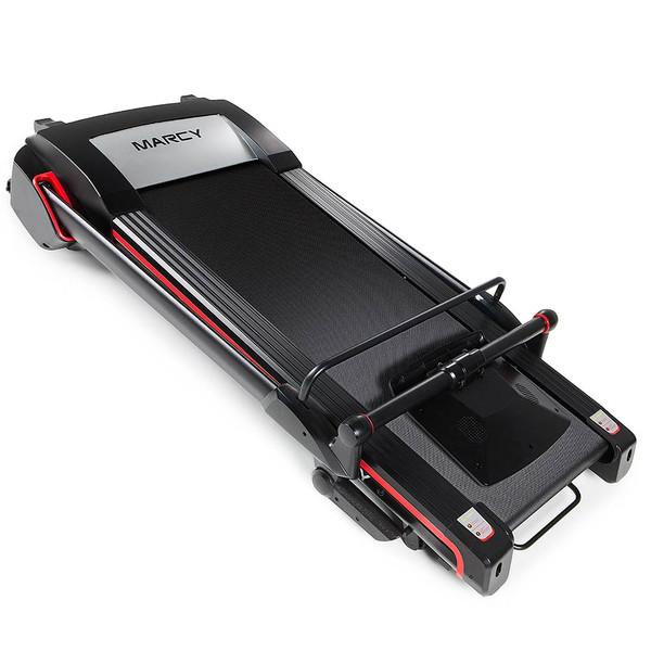 The Marcy Easy Folding Motorized Treadmill JX-651BW folds for easy storage
