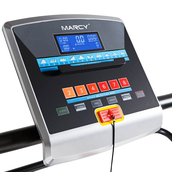 The Marcy Easy Folding Motorized Treadmill JX-651BW includes a monitor to keep track of your exercise