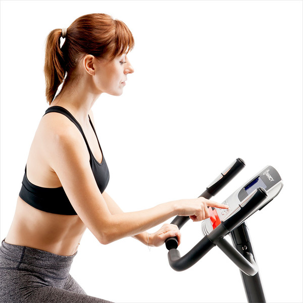 Model using the LCD Computer Display Screen on the Regenerating Magnetic Upright Exercise Bike Marcy ME-702