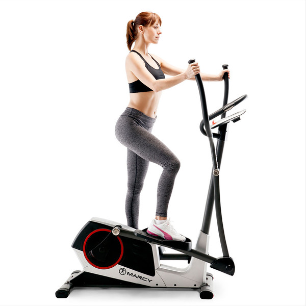 The Regenerating Magnetic Elliptical Trainer Machine Marcy ME-704  with a model getting a full body workout