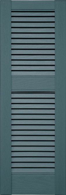 Custom Louver (L4) Straight Top Vinyl Shutters, Offset Mullion (Pair)