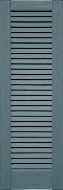 Custom Louver (L6) Straight Top Vinyl Shutters, All Louver (Pair)