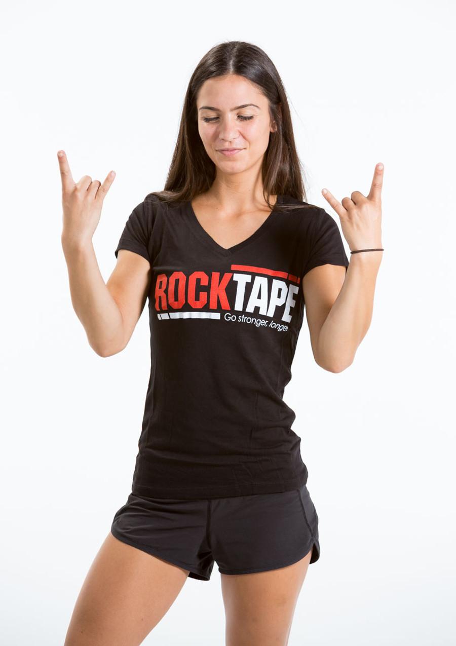 Women's V-Neck Black Logo  Tee