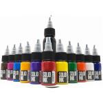 11 Half Ounce Colors + 1oz black Mini Travel Set - Solid Ink
