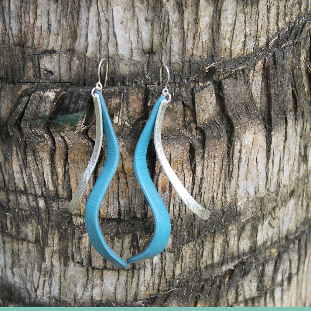 Silver with turquoise leather detail earrings with sterling silver posts