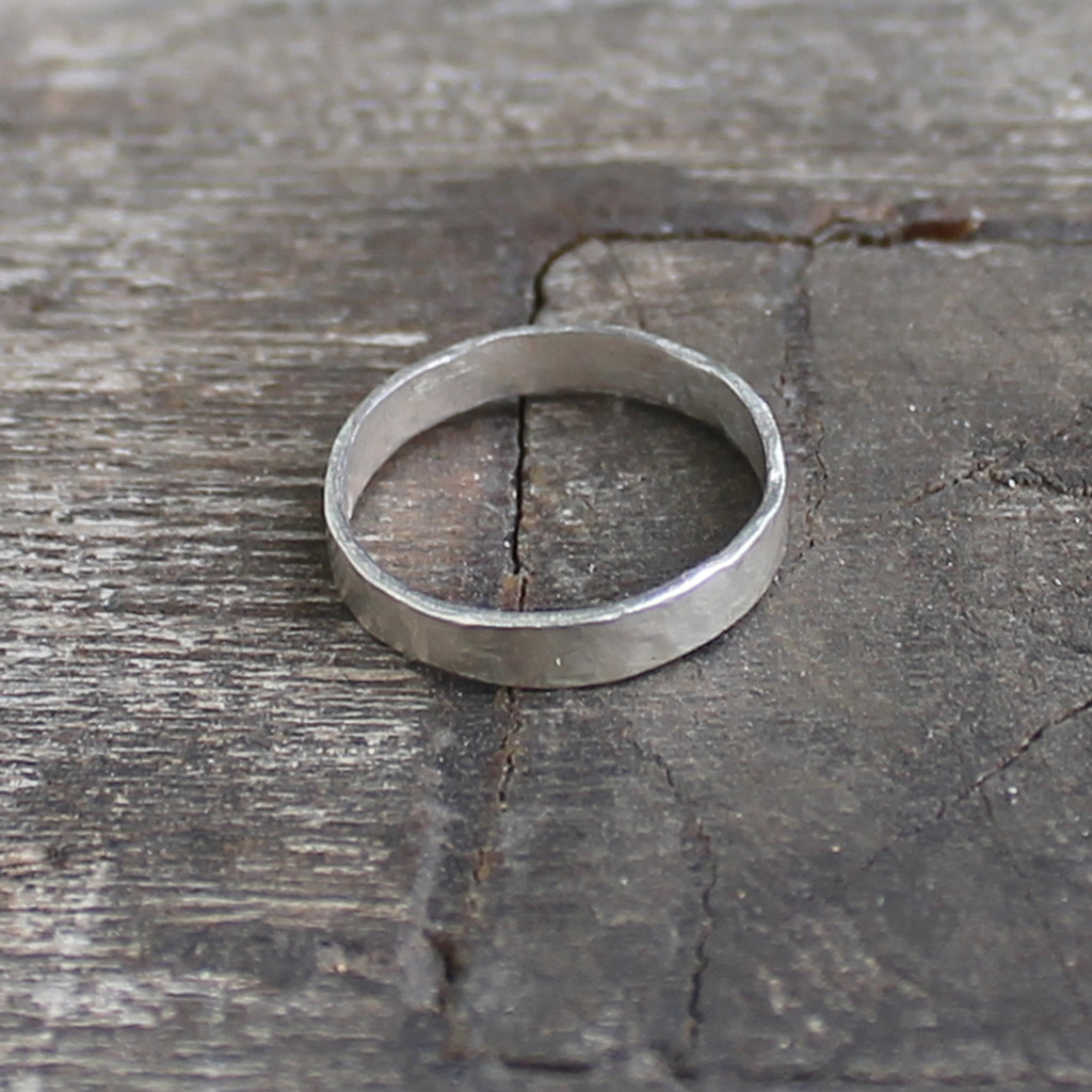 Sterling silver hammered stacking ring