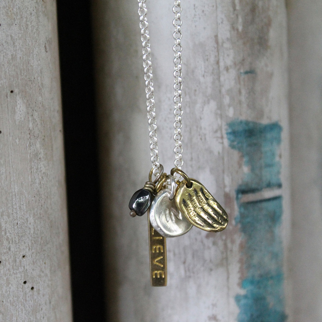 "Meaningful pendants with ""BELIEVE IN"" inspirational message"