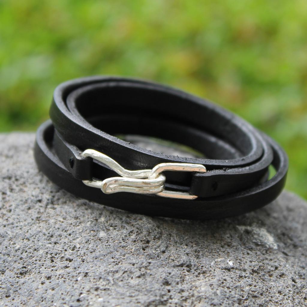 Black leather multi wrap bracelet with silver closure