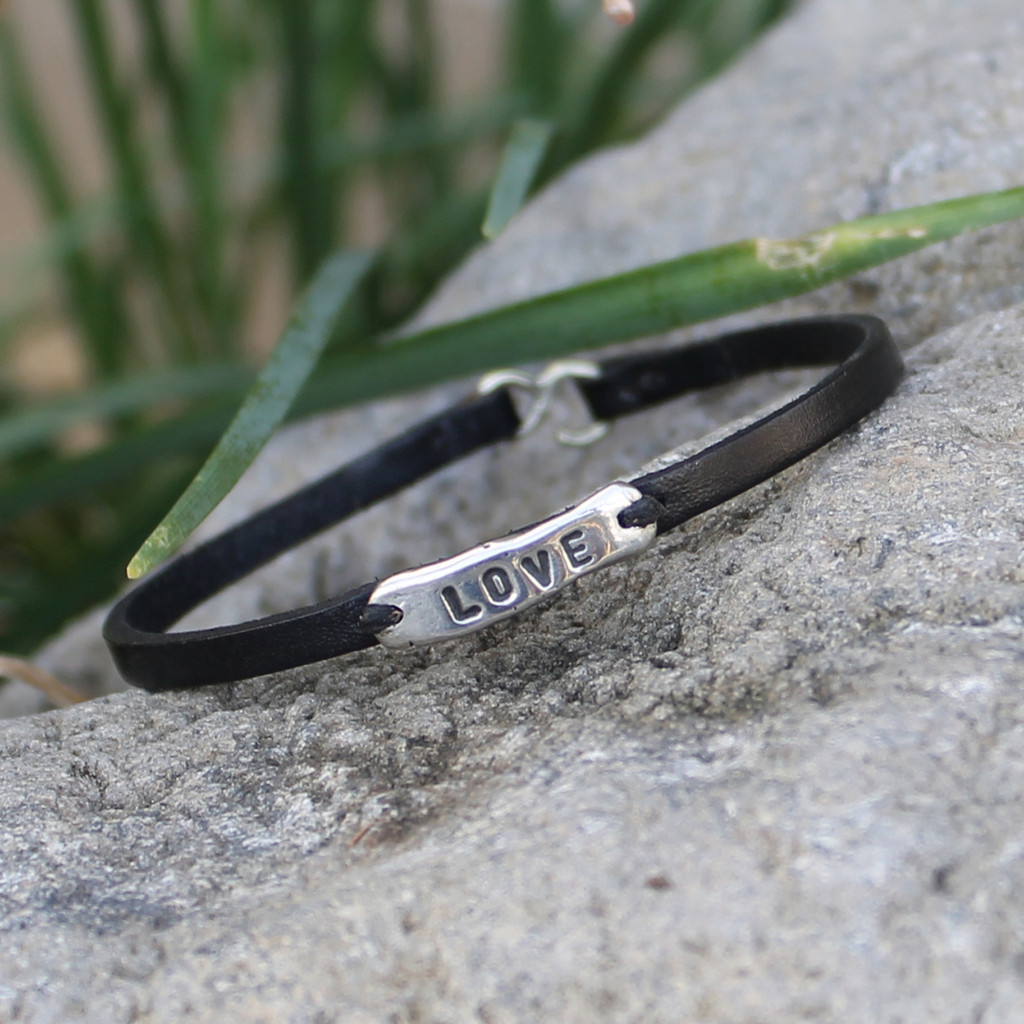 Black leather bracelet with silver LOVE detail