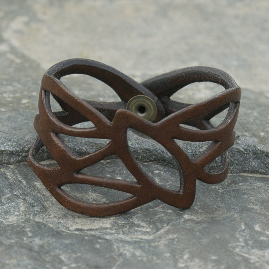 Chocolate brown leather cuff bracelet with cut out detailing