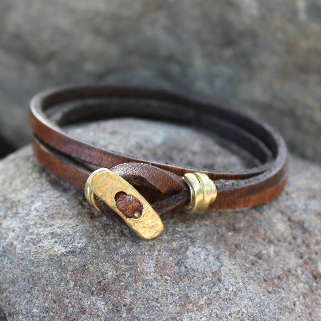 Brass toggle closure on chocolate brown leather men's multi wrap bracelet