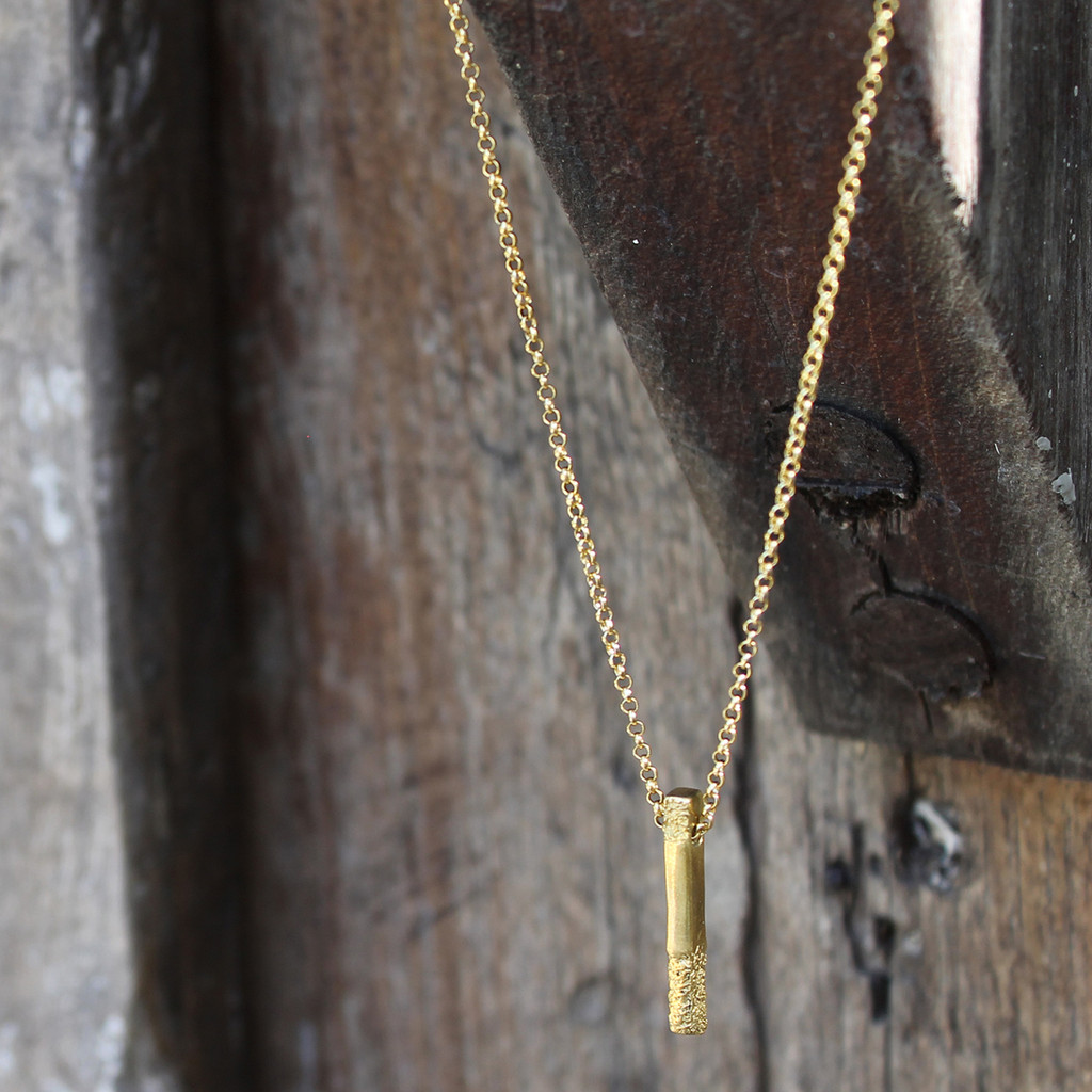 Gold plated brass textured pendant
