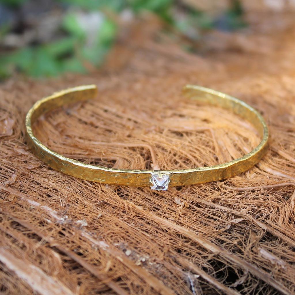 textured brass adjustable cuff with white stone