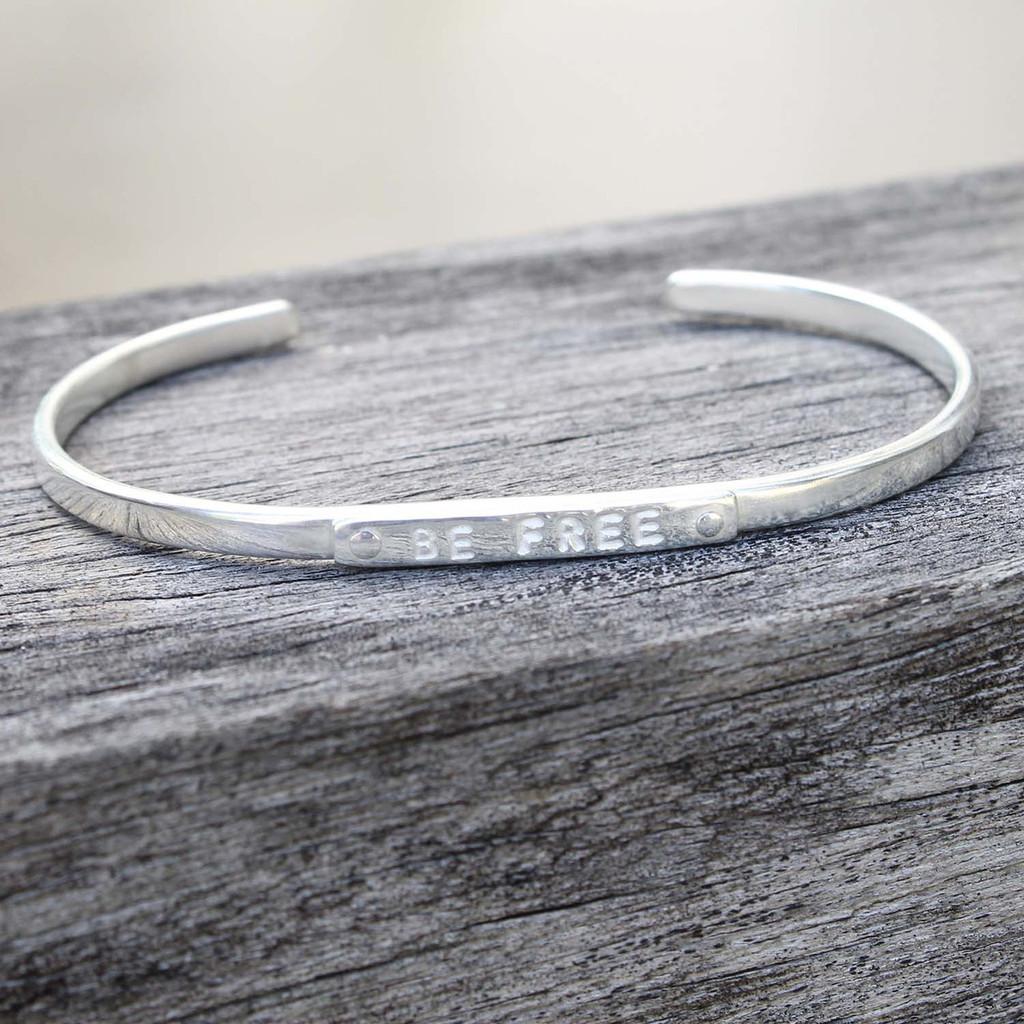 """Silver """"be free"""" adjustable inspirational bracelet"""