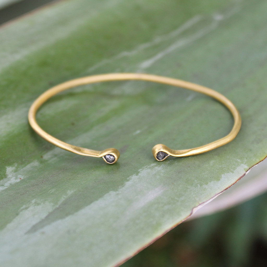 Simple antique brass cuff with raw diamonds