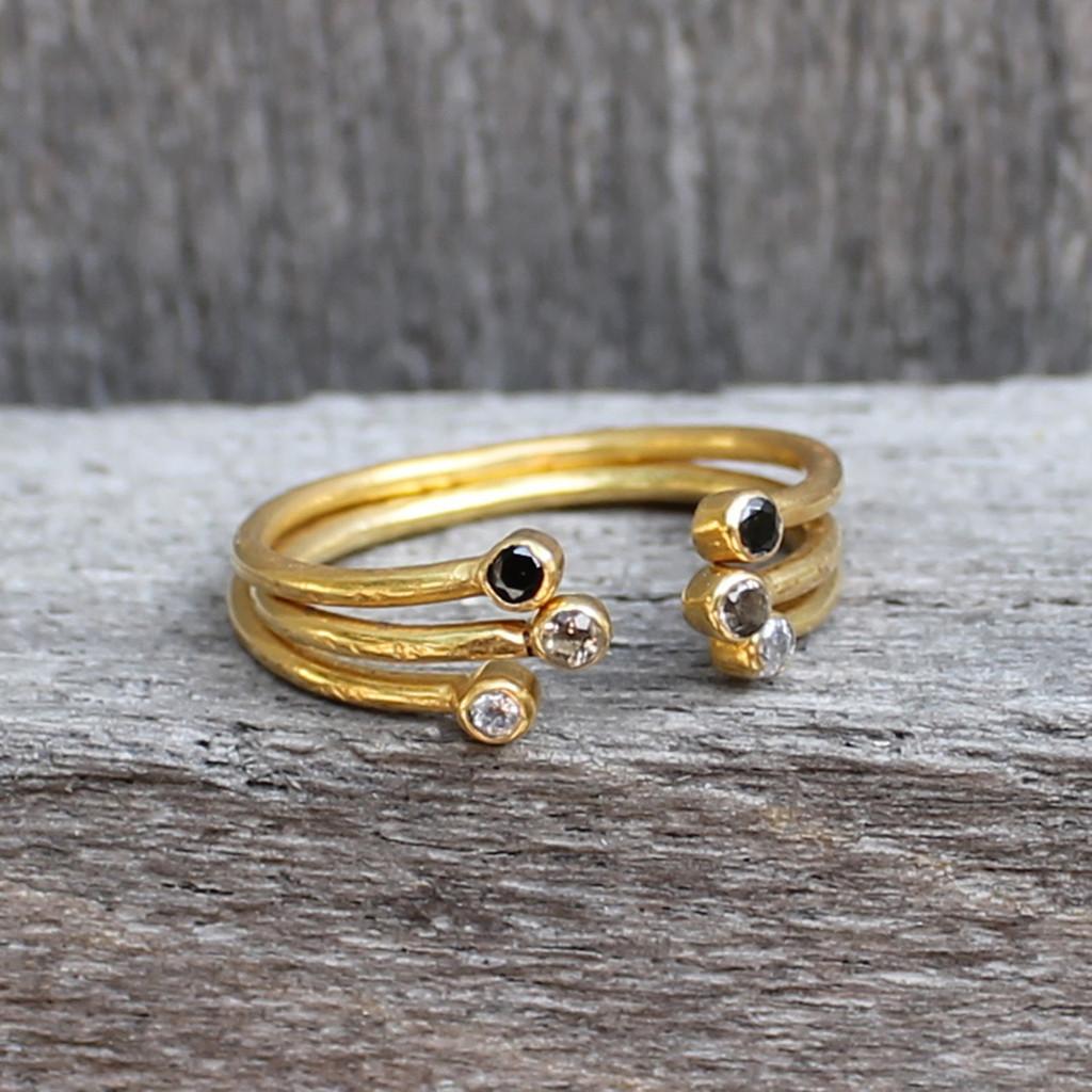 gold plated open ring black stone, smokey quartz and white stone stack