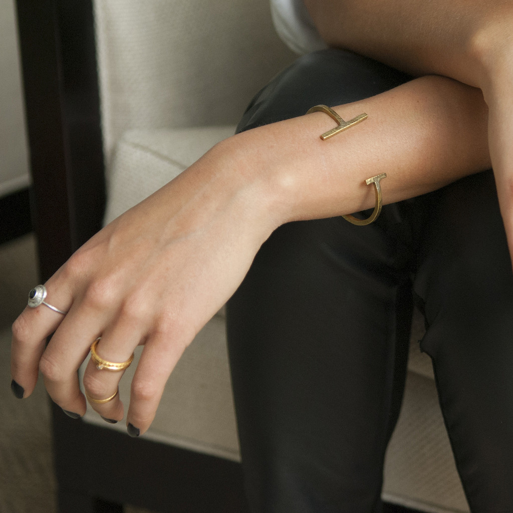 minimalist brass cuff bracelet