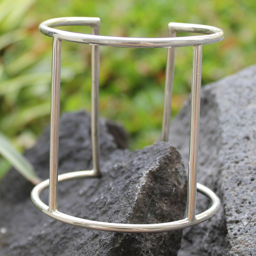 minimalist silver statement cuff