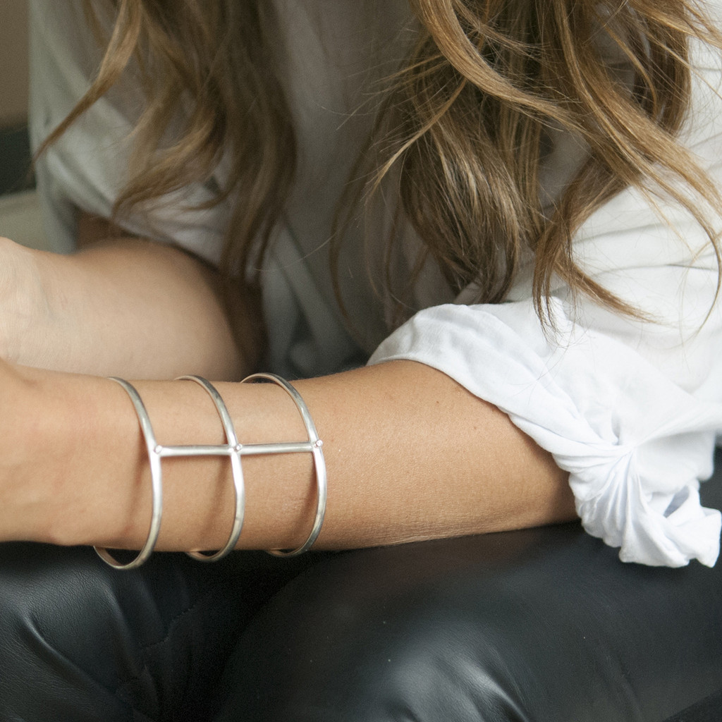 adjustable silver statement bracelet with white stones