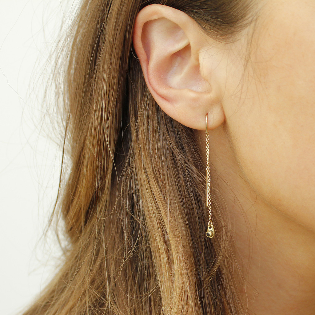 delicate gold filled chain threader earrings with black stone detail