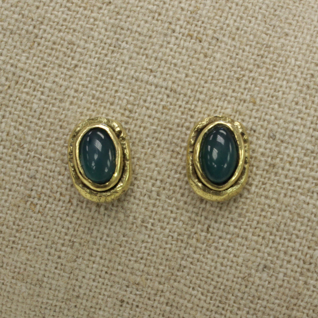 brass earrings with green agate stone detailing