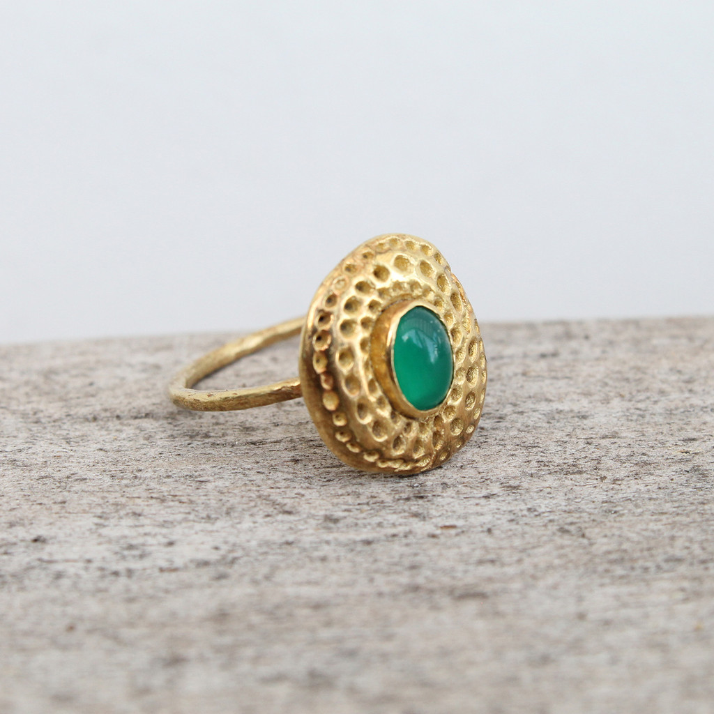 14 carat gold plated ring with green agate stone detailing
