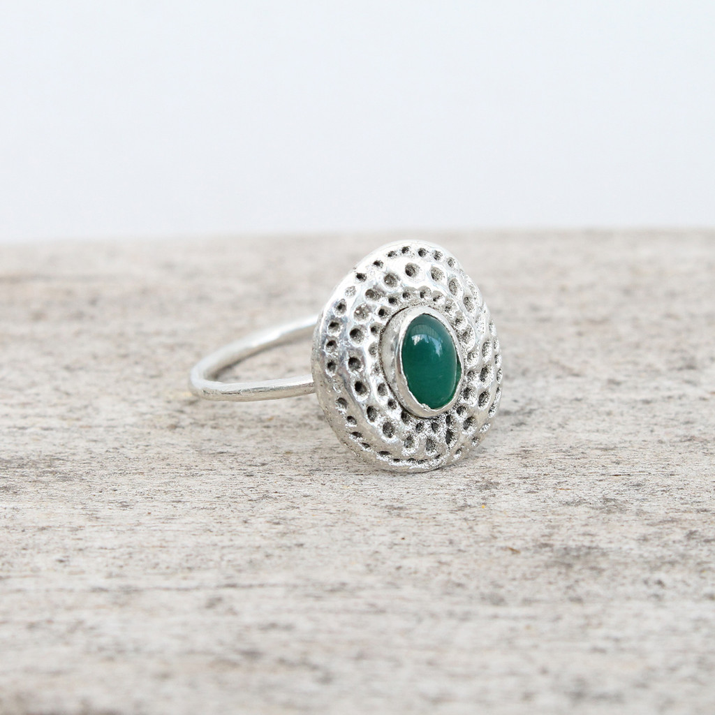 sterling silver ring with green agate stone detailing