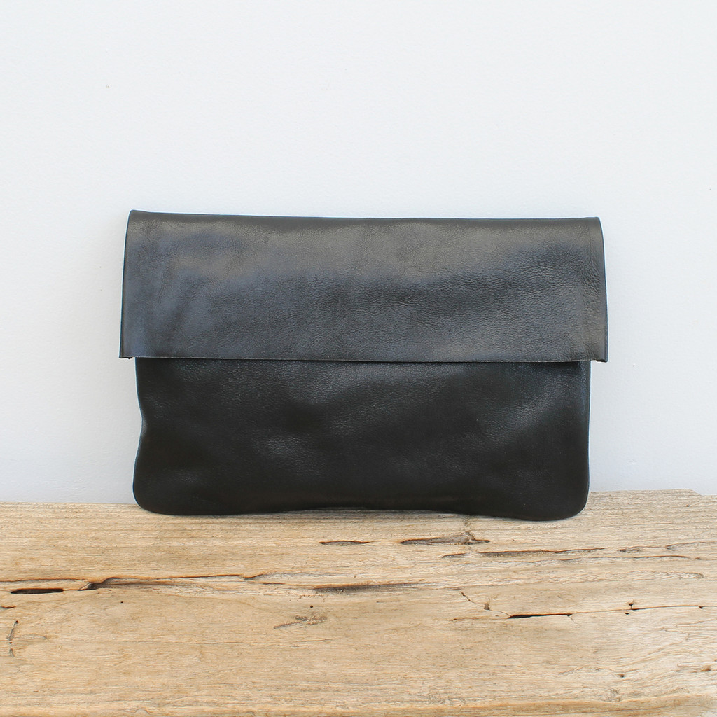black coloured brown fold over clutch with zipper