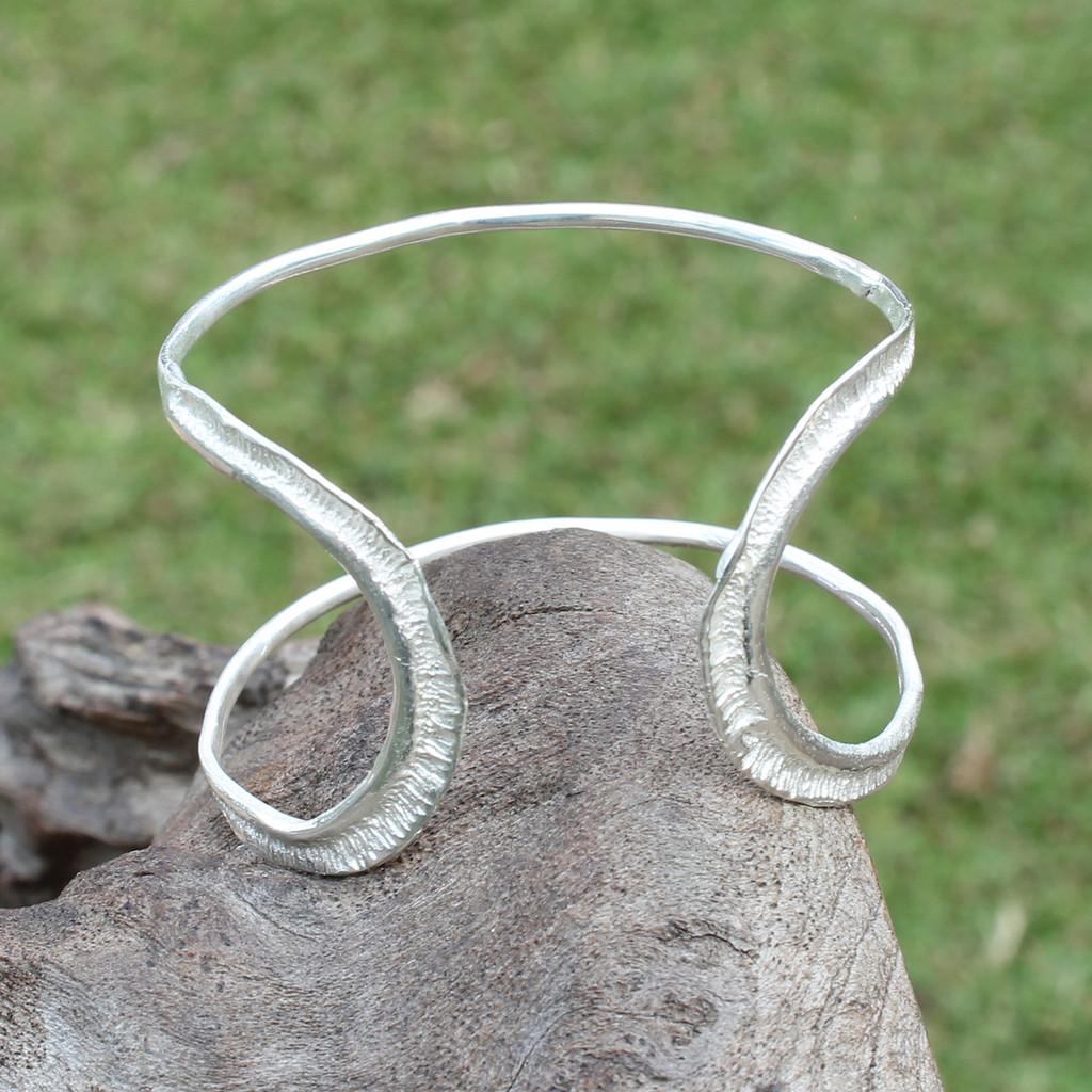 textured silver plated brass adjustable statement cuff
