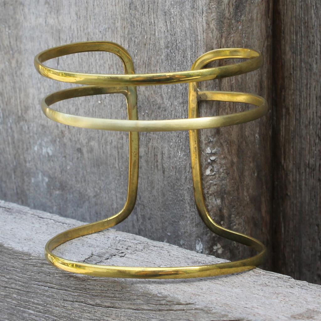 minimalist asymmetrical adjustable statement cuff in brass