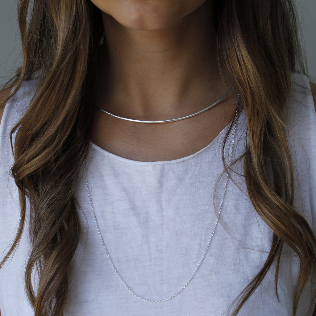 Silver collar necklace with sterling silver chain