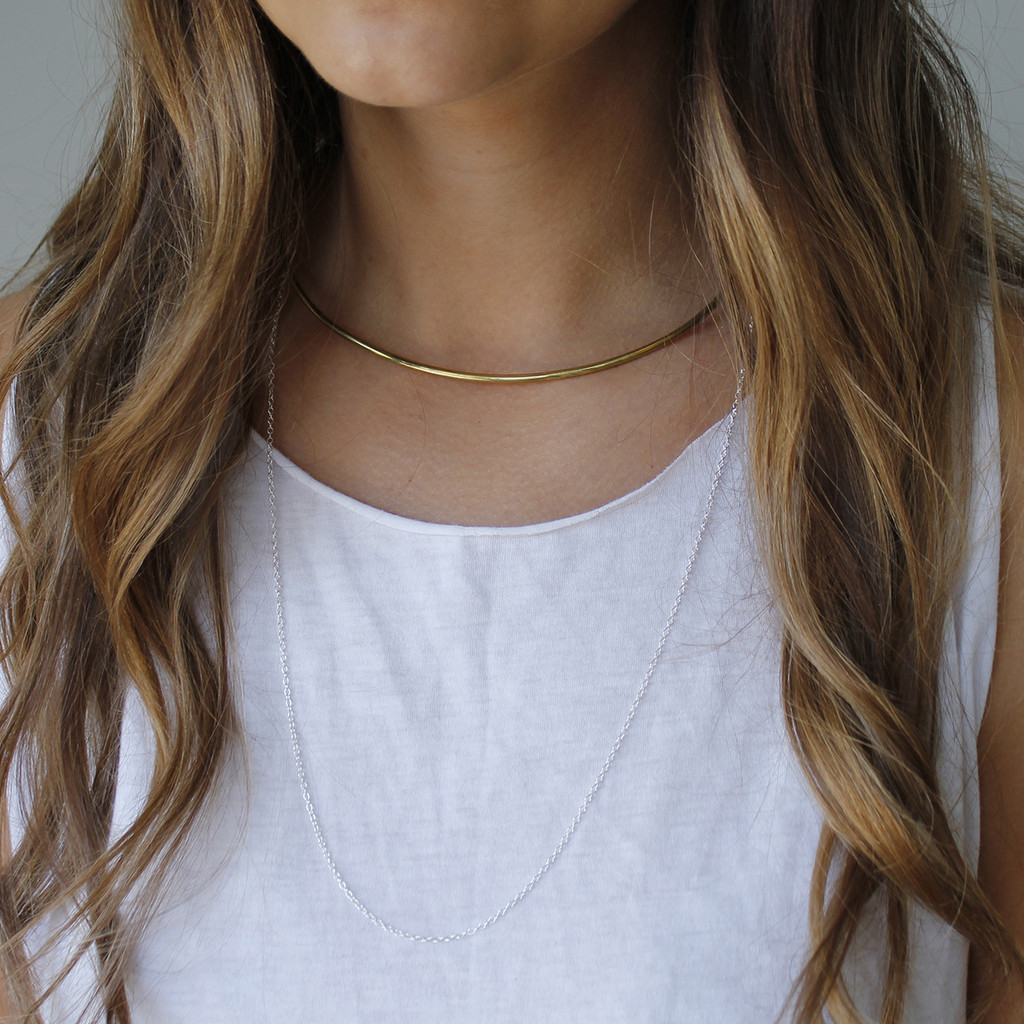 Brass collar necklace with sterling silver chain