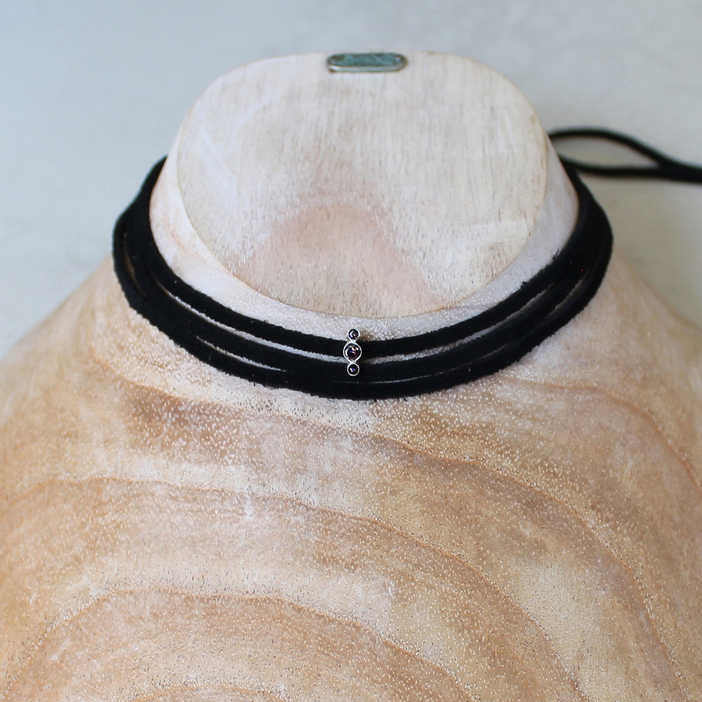 black leather wrap necklace with silver and smoky quartz detail