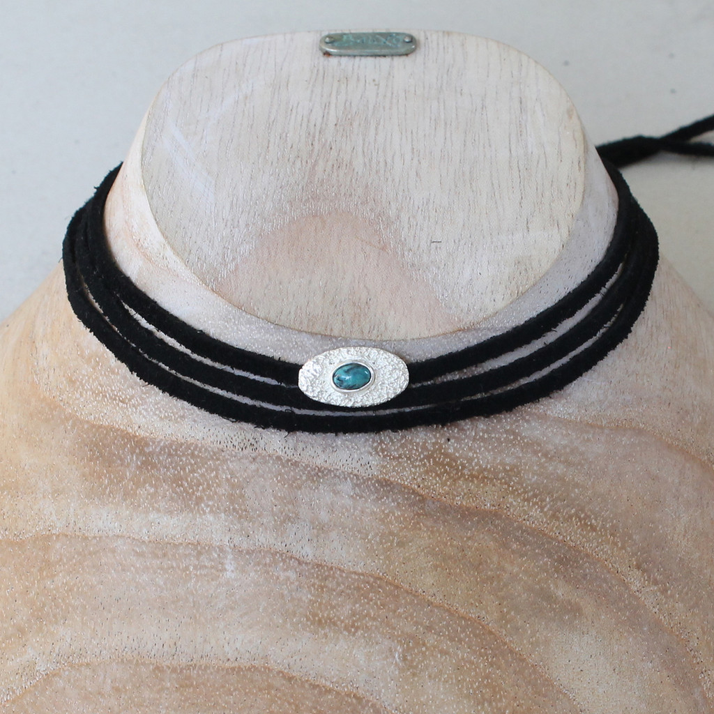 black leather wrap necklace with silver and turquoise detail