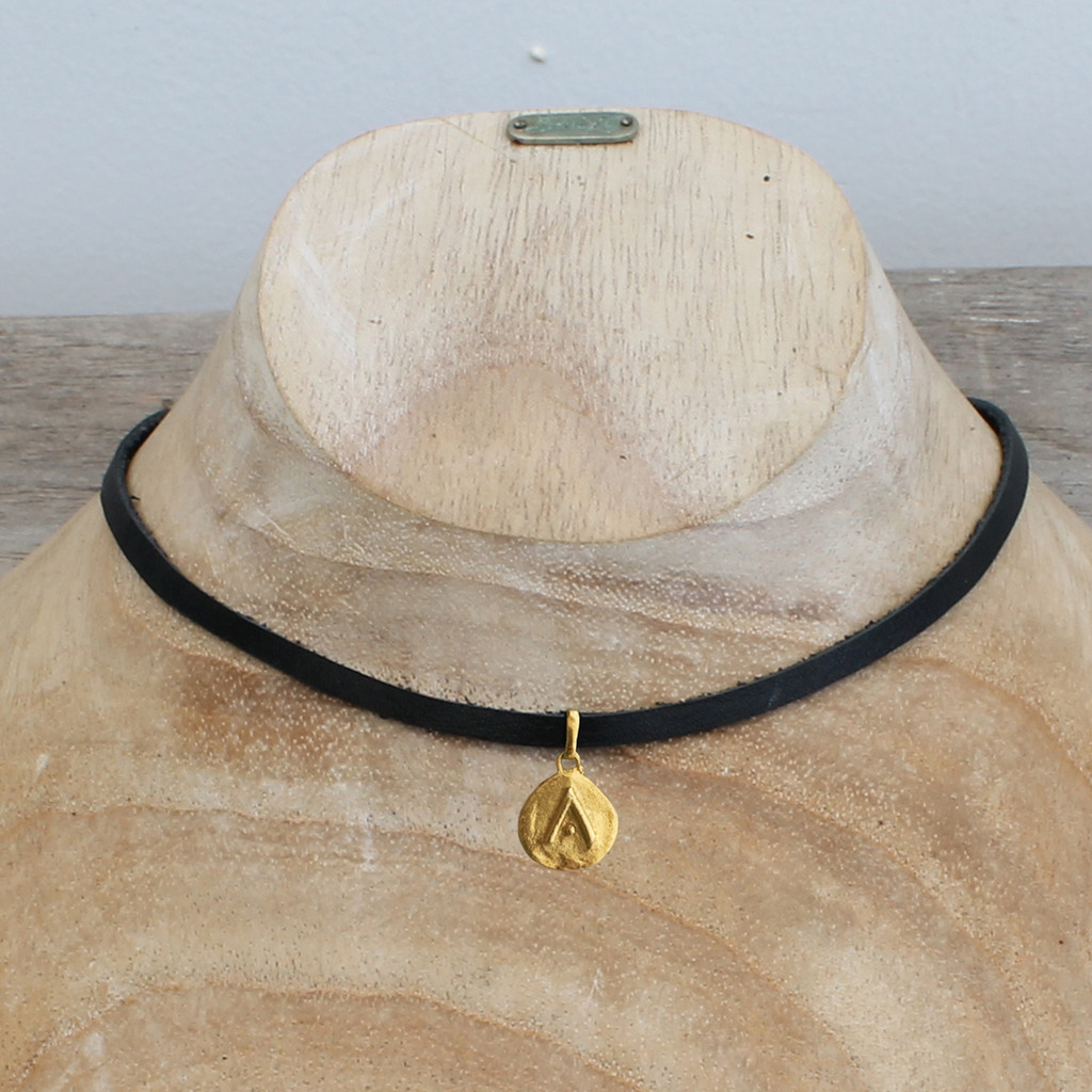 """black leather necklace with brass """"protect"""" pendant"""