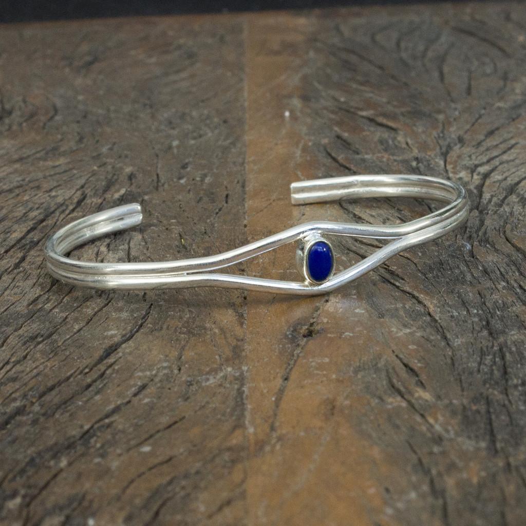 Unique silver cuff with semi-precious stone