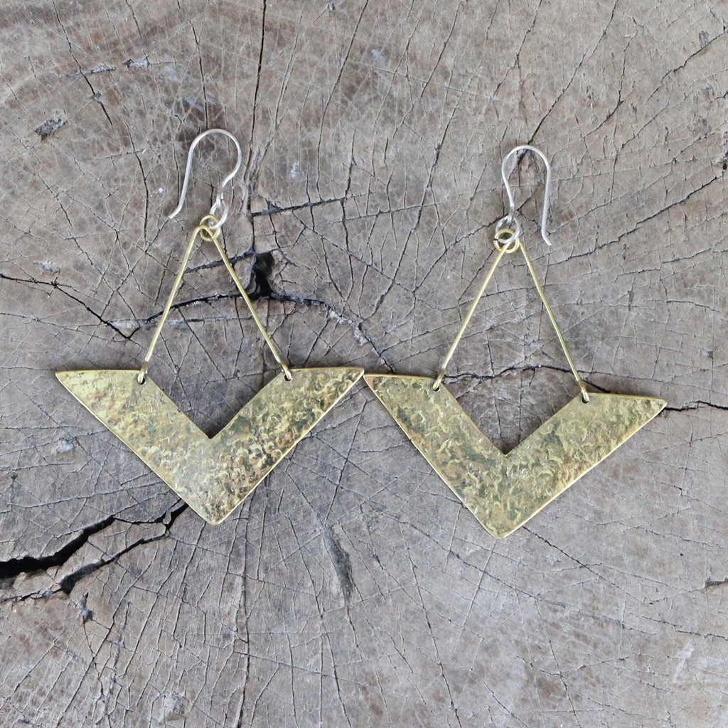 Handmade, unique brass earrings