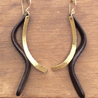 Gold with chocolate leather detail earrings with gold plated sterling silver posts