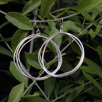 Large multi hoop silver earrings with sterling silver posts