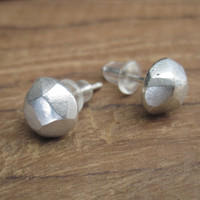 Faceted silver stud earrings with sterling silver posts