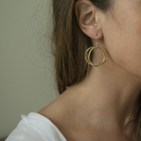 Small brass wavy circle drop earrings with sterling silver posts