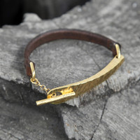 Chocolate brown thin leather bracelet with brass detail and toggle closure
