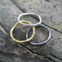 Sterling silver stacking rings in 14K gold plate or oxidized