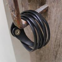 Black leather multi wrap bracelet with snap closure