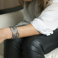 Charcoal leather cuff bracelet with cut out detailing