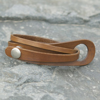 Mocha brown leather multi wrap bracelet with silver snap closure