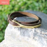 Brass closure on chocolate brown leather wrap bracelet