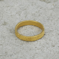 14 carat gold plated textured stacking ring